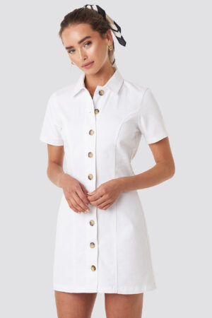 NA-KD Button Up Denim Mini Dress - White
