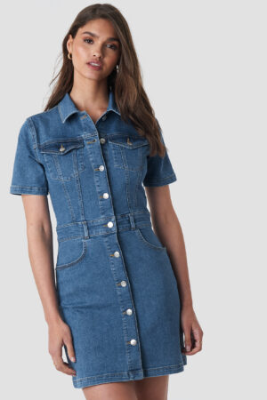 NA-KD Button Up Mini Denim Dress - Blue