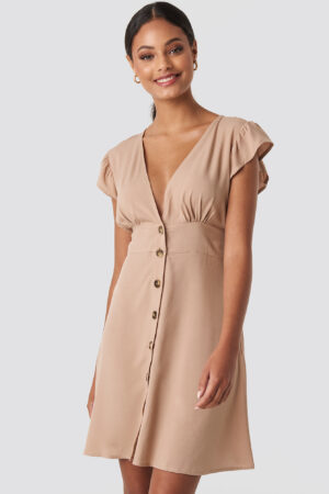 NA-KD Button Up Mini Dress - Beige