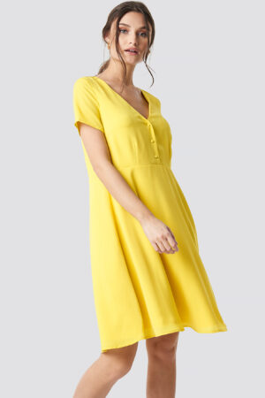 NA-KD Button Up Short Sleeve Dress - Yellow