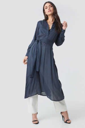 NA-KD Trend Button Up Tie Waist Dress - Blue
