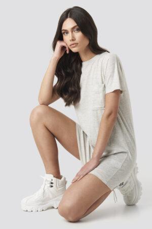 NA-KD Chest Pocket T-shirt Dress - Grey