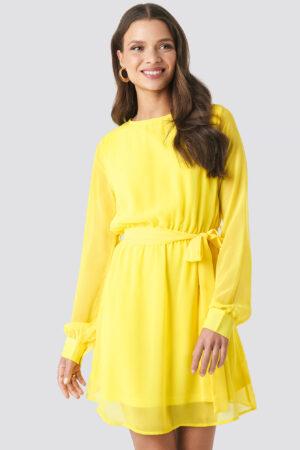NA-KD Chiffon Dress - Yellow