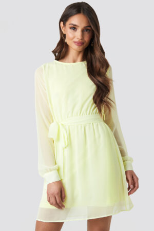 NA-KD Chiffon Dress - Yellow