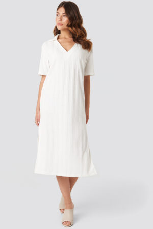 NA-KD Trend Collar V Front Knitted Dress - White