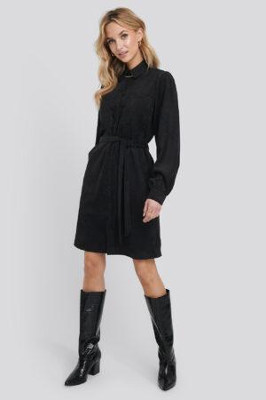 NA-KD Trend Corduroy Tied Waist Shirt Dress - Black