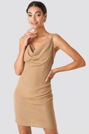 NA-KD Party Cowl Neck Mini Dress - Beige