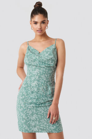 NA-KD Party Cowl Neck Mini Dress - Green