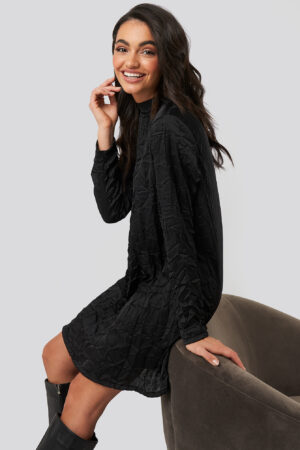 NA-KD Party Creased Effect Long Sleeve Mini Dress - Black