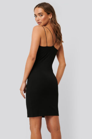 NA-KD Party Cross Back Spaghetti Strap Dress - Black