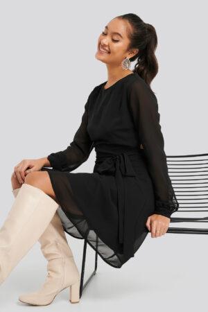 NA-KD Cut Out Back Chiffon Mini Dress - Black