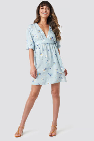 NA-KD Deep V Mini Dress - Blue