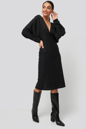 NA-KD Party Deep V Neck Batwing Lurex Dress - Black