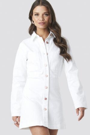 NA-KD Trend Denim Shirt Mini Dress - White