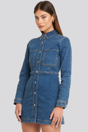 NA-KD Trend Denim Shirt Mini Dress - Blue