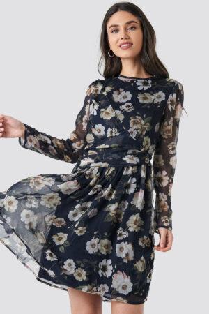 NA-KD Boho Draped Detail Chiffon Mini Dress - Blue