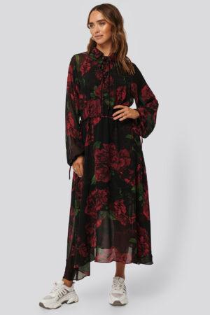 NA-KD Trend Drawstring Chiffon Midi Dress - Black