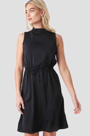 NA-KD Party Drawstring Waist High Neck Dress - Black