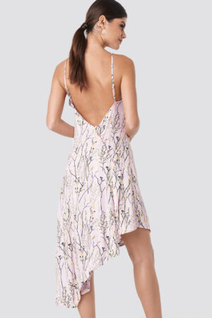 NA-KD Floral Print Halter Neck Midi Dress - Pink