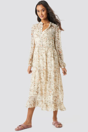 NA-KD Boho Flower Print Tiered Midi Dress - Beige