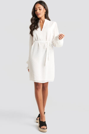 Adorable Caro x NA KD Deep V Neck Frill Dress White