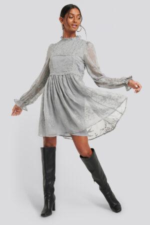 NA-KD Boho Frill Neck Embroidery Dress - Grey