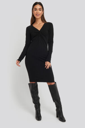 NA-KD Party Front Knot Long Sleeve Dress - Black