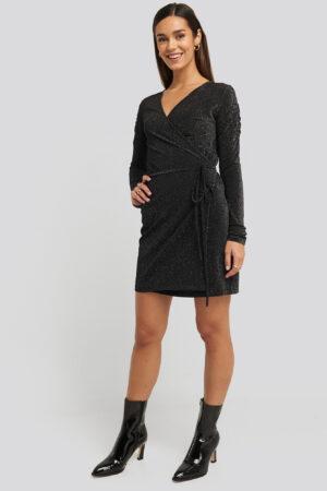 NA-KD Party Gathered Shoulder Glittery Dress - Black