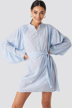NA-KD Trend Gathered Sleeve Tied Waist Striped Shirt - Blue