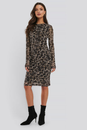 NA-KD Trend Gathered Waist Mesh Dress - Brown