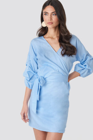 NA-KD Boho Gathered Waist Puff Sleeve Dress - Blue