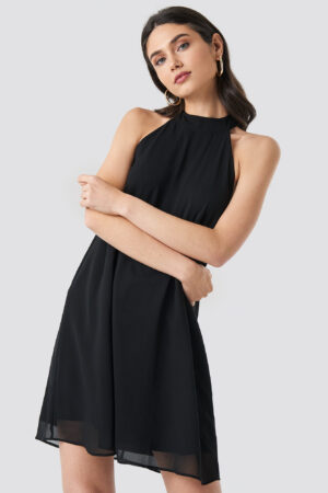 NA-KD Party Halterneck Swing Dress - Black