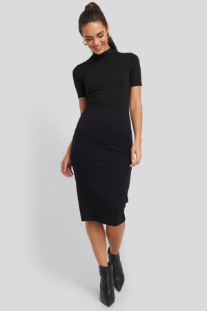 NA-KD Basic High Neck Bodycon Midi Dress - Black