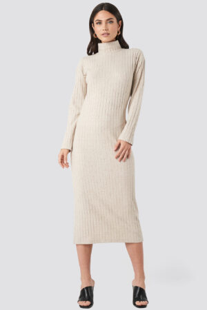 NA-KD Trend High Neck Ribbed Ankle Length Knitted Dress - Beige