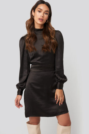 NA-KD Trend High Neck Satin Dress - Black