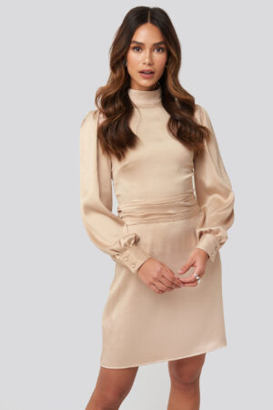 NA-KD Trend High Neck Satin Dress - Beige