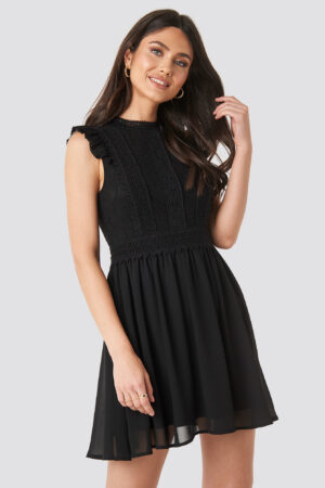 NA-KD Boho Lace Anglaise Mini Dress - Black