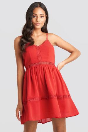 NA-KD Boho Lace Insert Flowy Mini Dress - Red