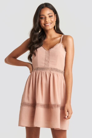 NA-KD Boho Lace Insert Flowy Mini Dress - Pink