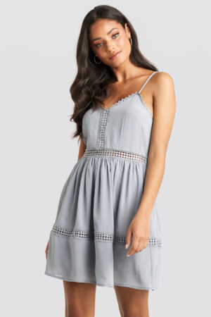 NA-KD Boho Lace Insert Flowy Mini Dress - Blue