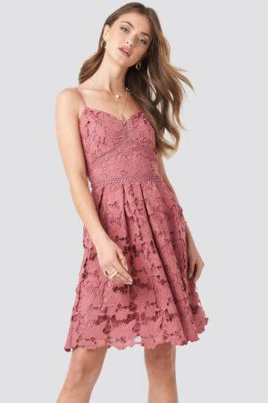NA-KD Boho Lace Strap Dress - Pink