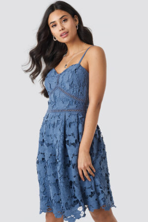 NA-KD Boho Lace Strap Dress - Blue