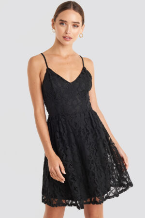 NA-KD Boho Lace Strap Mini Dress - Black