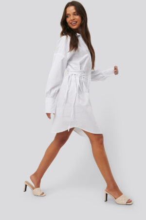 NA-KD Trend Lace Up Shirt Dress - White