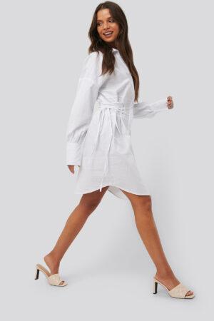 NA-KD Trend Lace Up Shirt Dress - White