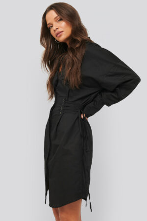 NA-KD Trend Lace Up Shirt Dress - Black