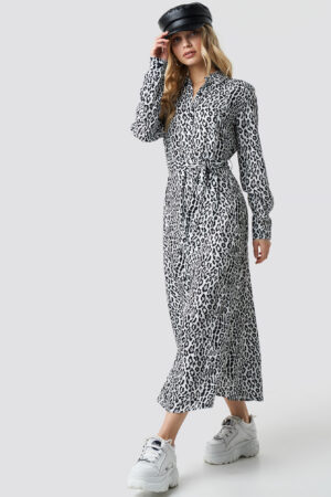 NA-KD Leopard Printed Shirt Dress - Multicolor
