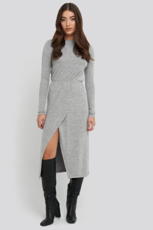 NA-KD Light Knitted Melange Dress - Grey