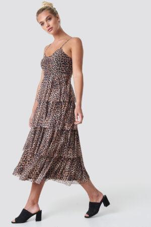 NA-KD Mesh Layered Slip Dress - Brown