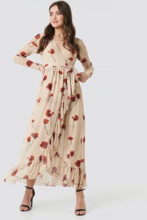 NA-KD Trend Mesh Printed Frill Maxi Dress - Beige